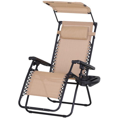Outsunny Zero Gravity Garden Deck Folding Chair Patio Sun Lounger Reclining Seat with Cup Holder & Canopy Shade - Beige