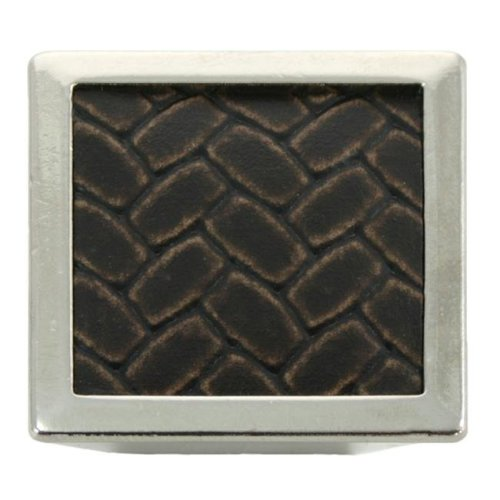 1.63 in. Square Knob - Polished Nickel & Brown