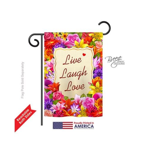 Breeze Decor 50055 Welcome Live, Laugh, Love 2-Sided Impression Garden Flag - 13 x 18.5 in.