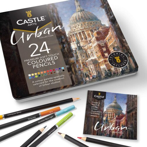 Castle Arts Urban sketching 24 Piece Coloured Pencil Set in Tin Box
