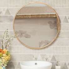 Gold Round Frame Home Bathroom Glass Wall Mounted Vanity Mirror 80cm