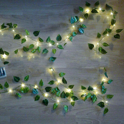 (USB Model) 5M Artificial Ivy Garland 50LED Solar String Light