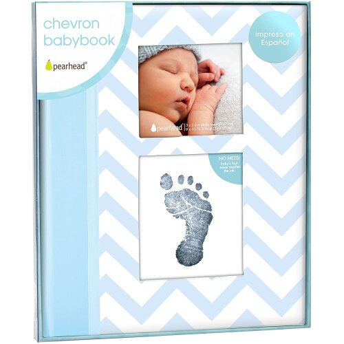 Pearhead Chevron Baby Memory Book with Clean Touch Ink Pad, Spanish Version, Blue