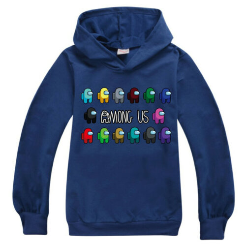 (Dark Blue, 7-8 Years) Among Us Gaming Kids Hooded Hoodies Sweatshirt Impostor Jumper Tops
