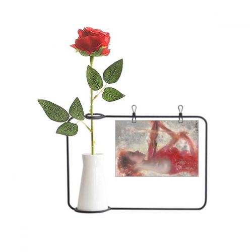 Red Girl Lotus XJJ Oil Painting Artificial Rose Flower Hanging Vases Decoration Bottle