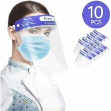 10 PCS FACE SHIELD FULL COVERING ANTI-FOG CLEAR TRANSPARENT PPE VISOR GUARD SALIVA SPLASH PROTECTION ELASTIC BAND WITH SPONGE MASK