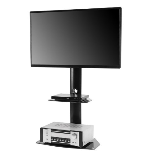 Rfiver Tavr Furniture Modern Black Swivel Mount Floor Tv Stand For 27 55 Lcd Led Plasma Flat Curved Screen With Tempered Glass Shelves Tf7001 On Onbuy