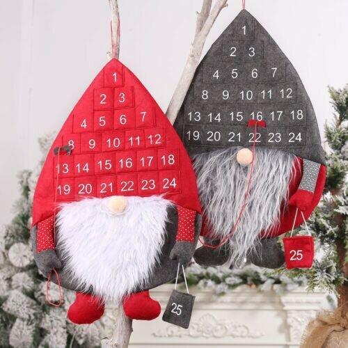 Christmas Advent Calendar with Pockets Felt Kids Wall Hanging Countdown Xmas