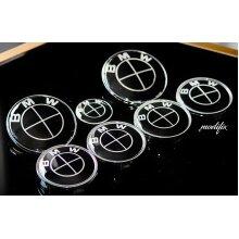 MODIFIX_CO_UK BMW M Sport All Black Emblem Badge Front & Rear + Wheel Centre Caps + Steering Wheel Decal 7pcs Set