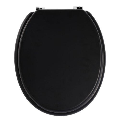 Sleek Black Wooden Toilet Seat With Zinc Alloy Fittings