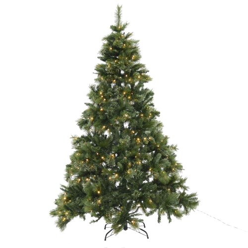 Mr Crimbo 7ft (210cm) Green Mixed Pine Artificial Pre-Lit Christmas Xmas Tree With 320 Warm White LED Lights, 1075 Branch Tips, Folding Metal Base