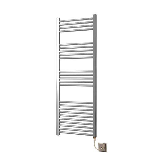 Greened House 500mm wide x 1400mm high Chrome Curved Electric Heated Towel Rail Designer Towel radiator
