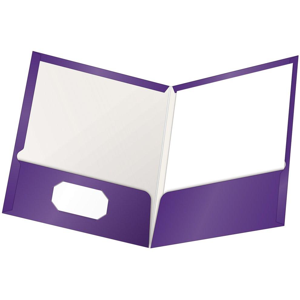 Letter Oxford Two Pocket Folders Purple Pack of 25