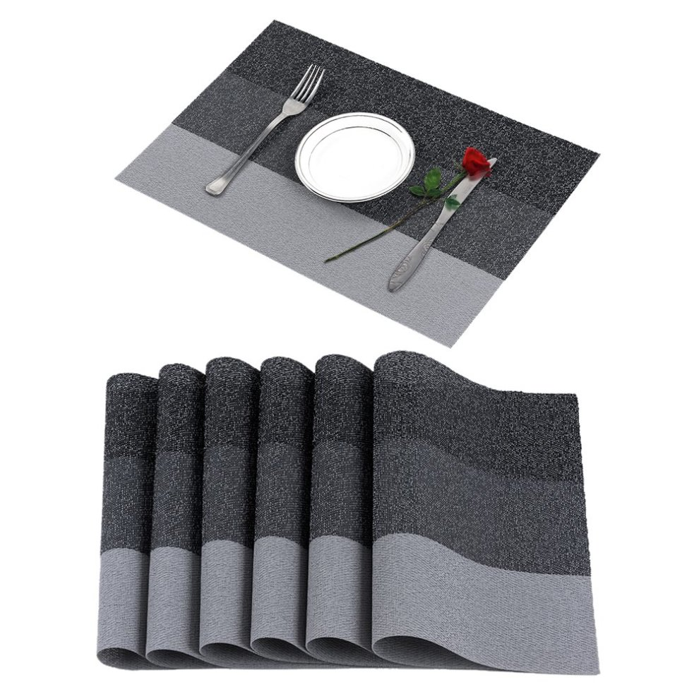 Famibay Set Of 6 Placemats Vinyl Dining Table Mats Non Slip Table
