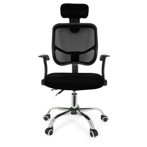 (Black) Chaise Fauteuil siège de Bureau de Loisirs Tissu Baquet Voiture Réglable