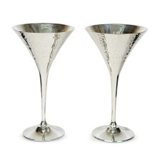 Culinary Concepts Pair of Hammered Cocktail Champagne Goblets