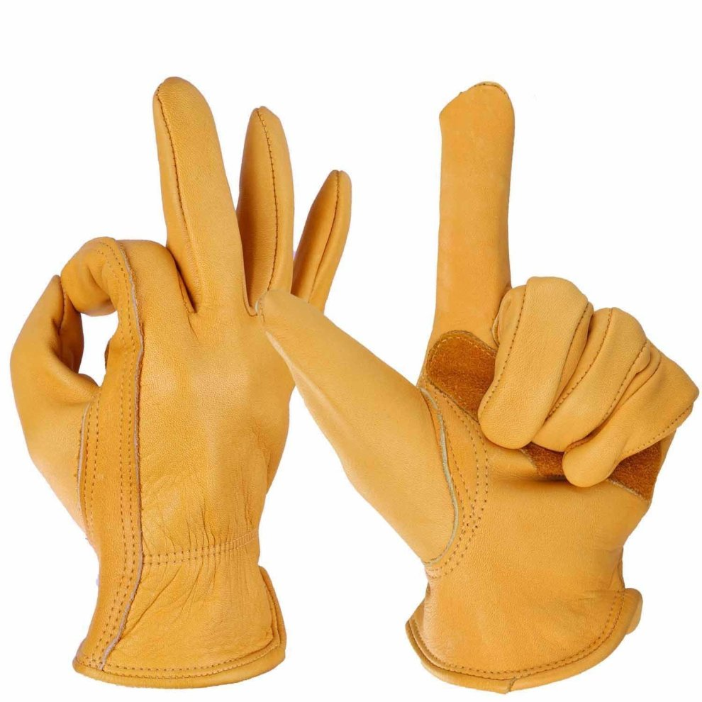 OZERO Leather Gloves,Work Gloves for Working,Gardening,for Men /& Women,1 Pair