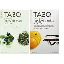 Tazo Flavored White Tea 2 Flavor Variety Bundle; (1) Tazo Berryblossom White, and (1) Tazo Apricot Vanilla Creme, 1.06…