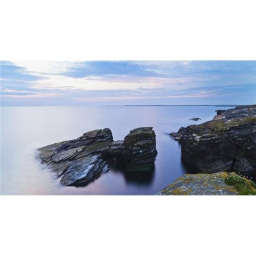 Rock & Tranquil Water Along The Coastline at Dawn - Orkney Scotland Poster Print - 42 x 22 in. - Large