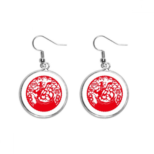 Dog Chinese New Year Paper Cutting Ear Dangle Silver Drop Earring Jewelry Woman