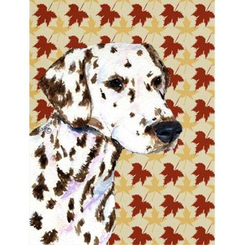 15 x 15 in. Dalmatian Fall Leaves Portrait Flag Garden Size
