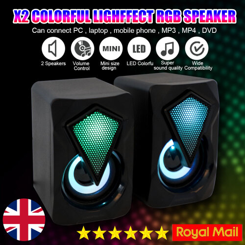 Surround Sound System LED PC Speakers Gaming Bass USB Wired Desktop