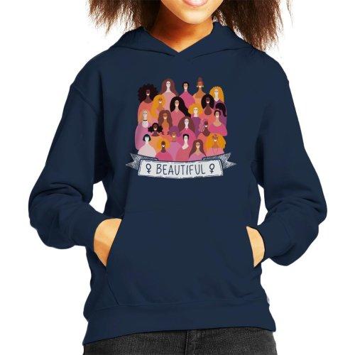 Girl Power Beautiful Banner Kid's Hooded Sweatshirt