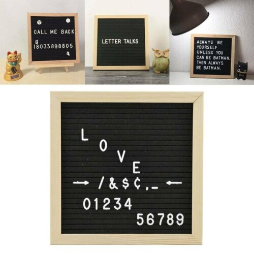Portable Felt Letter Board 10x10 Oak Frame 340 White Characters Message Sign
