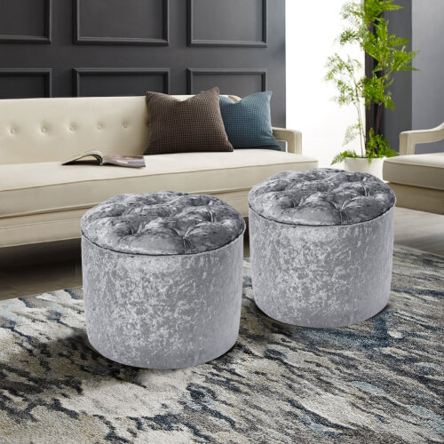 (Silver Grey) Diamond Foot Rest Pouffe Stool Crushed Velvet Footstool Chair