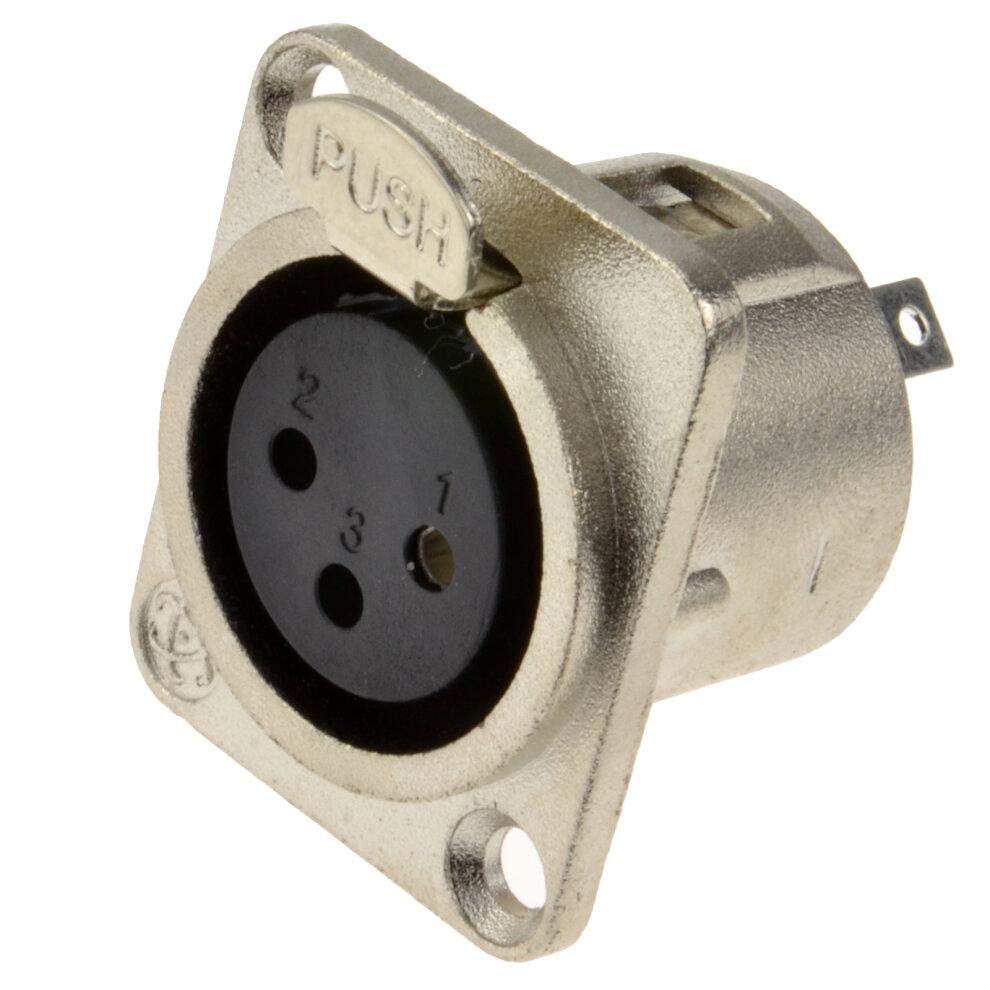 kenable XLR Socket Microphone Chassis Panel Mount Solder Terminal Socket Metal