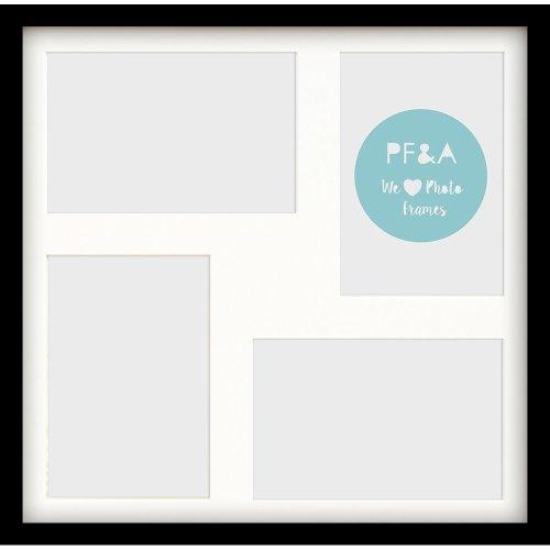 "17x17""/4 7x5"" Multi Oxford Black Photo Frame with Soft Cream Mount - Glass Window"