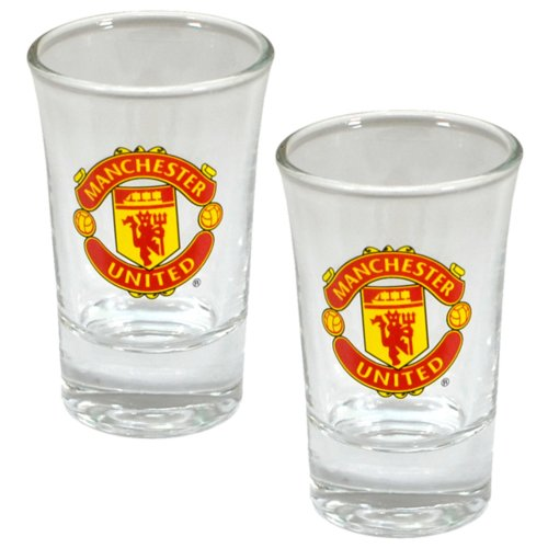 Manchester United FC Official Football Crest Shot Glasses (Pack of 2)
