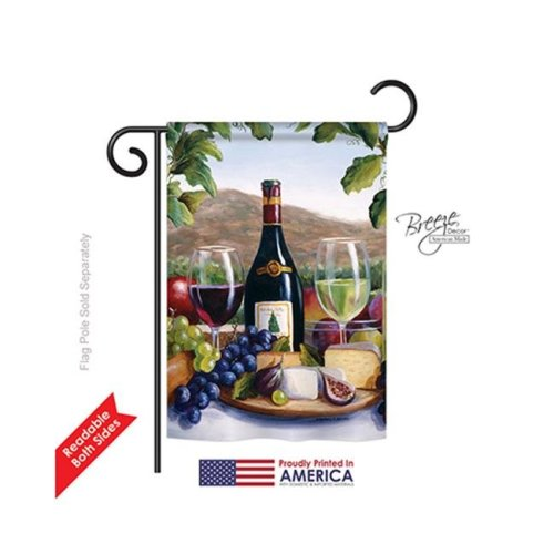 Breeze Decor 67025 Red & White Wine 2-Sided Impression Garden Flag - 13 x 18.5 in.