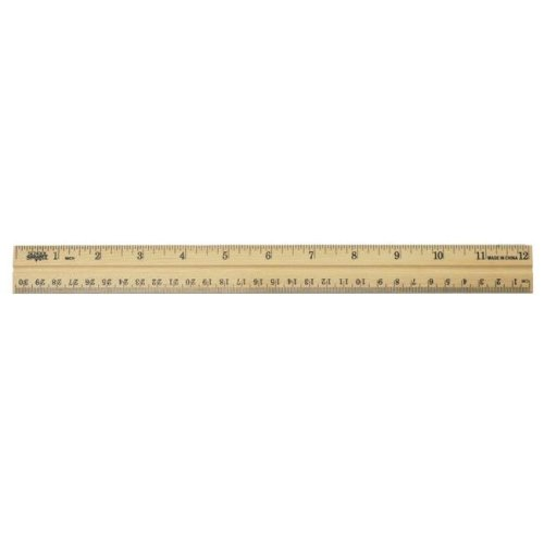 Wood School Ruler w//Single Metal Edge Clear Lacquer Finish 12