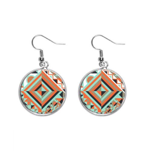 Green Rhombus Geometric Pattern Ear Dangle Silver Drop Earring Jewelry Woman