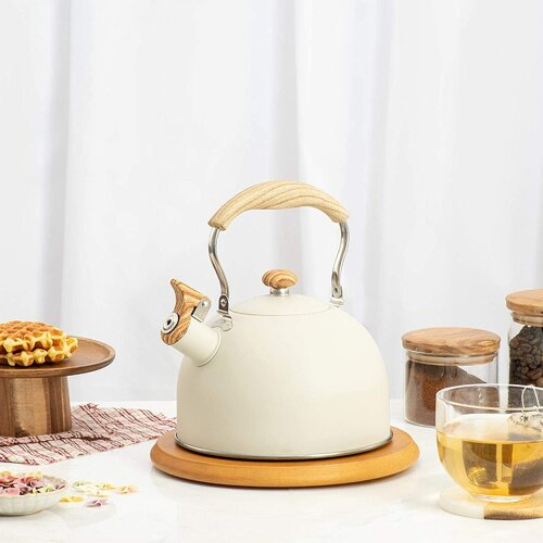 (Beige) 2.5L Stainless Steel Stove Top Whistling Tea Pot Kettle