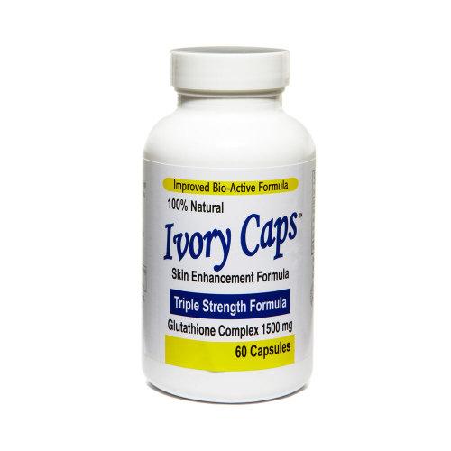 IVORY CAPS Glutathione Skin Whitening Max Bio-Active 1500mg 60 Caps