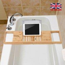 Bamboo Bathtub Organizer Wine Tablet Holder Adjustable Bath Tray