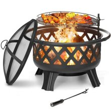 MCC Fire Pit Firepit Outdoor Brazier Garden BBQ Cooking Grill Round Stove Patio Heater Height Adjustable BBQ C