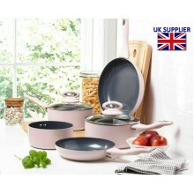 Cermalon ® 5-Piece Matt Pink/Grey Sparkle Ceramic Non-Stick Pan Set