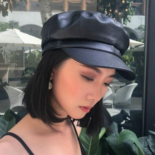military leather fashion ladies classic hat outdoor sun hats cap