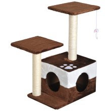 PawHut Cat Tree Scratcher Condo Play House Activity Center Hanging Toy Brown