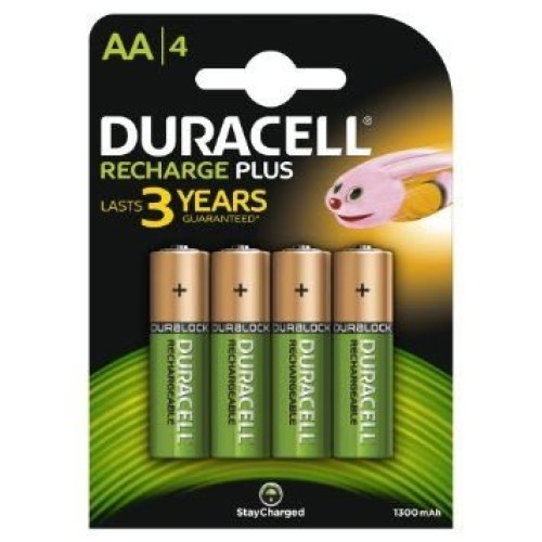 4 X Duracell 1300mAh AA Size Rechargeable Batteries