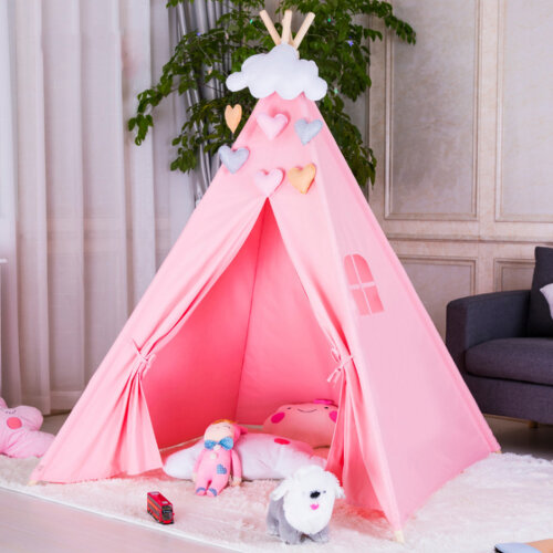 (Pink) Kids' Cotton Teepee Play Tent