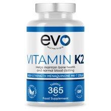 EVO Nutrition High Strength 200mcg Vitamin K2 MK7 - 365 Vegan Tablets