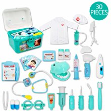 deAO Kids Role Play Dentist, Surgeon & Vet Medical 30 Piece Kit with Light and Sound Including Electronic Stethoscope, Lab Coat Cap & Play Medical Equipment