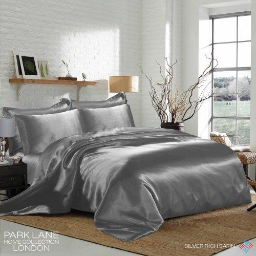 (KING, SILVER) 6PCS Satin Silk Duvet Cover Bedding Set