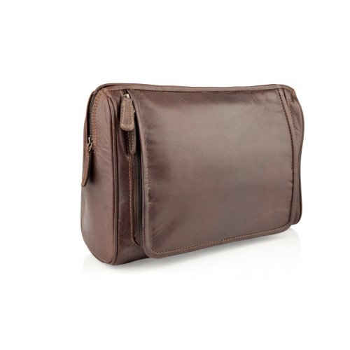"Woodland Leather Burnish Large Wash Bag 12.0"" With Hook Zip Around Multi Pockets"