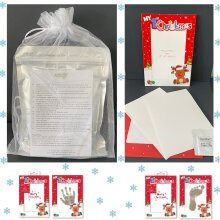Personalised Baby's 1st Handprint, Footprint Christmas Card. Inkless Wipes, Paper and Clay Giftset