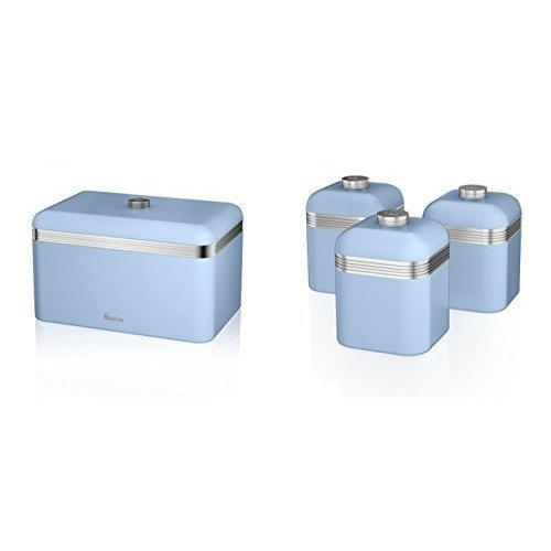 (Blue) 4pc Swan Retro Kitchen Storage Set